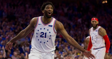Joel Embiid celebrates during the Philadelphia 76ers' Game 3 victory over the Toronto Raptors.