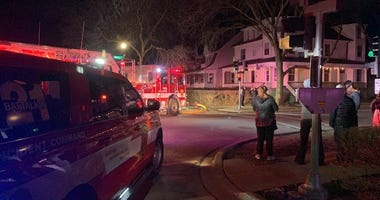 Two Evanston firefighters were taken to hospitals with minor injuries after rescuing a resident and a cat from a house fire March 8, 2020, in the 2200 block of Sherman Avenue.