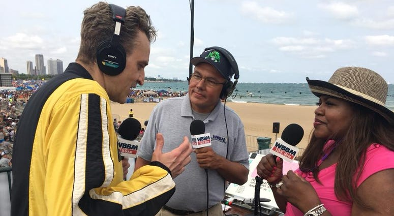 WBBM's Andy Giersher after jump with Golden Knights