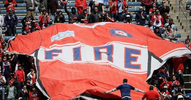 Fans unfurl a giant jersey banner after the Chicago Fire scored a goal against the Colorado Rapids at SeatGeek Stadium on April 20, 2019 in Bridgeview, Illinois.