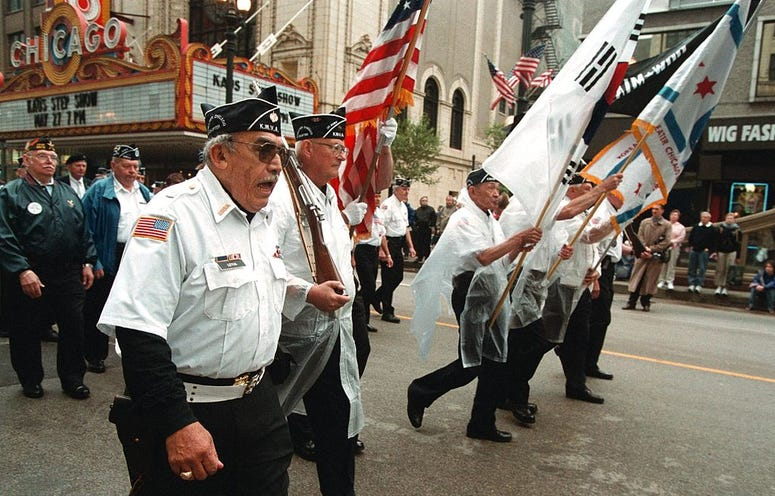 Members of the Greater Chicago Chapter of the Korean War Veterans march during the Memorial Day Parade May 27, 2000 in Chicago.