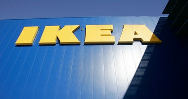 An IKEA sign hangs on a the side of an Ikea store January 27, 2005 in Paramus, New Jersey.