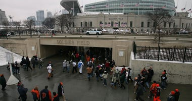 Fans make their way to Solider Field for the NFC Championship Game between the Chicago Bears and the New Orleans Saints January 21, 2007 at Soldier Field in Chicago, Illinois.