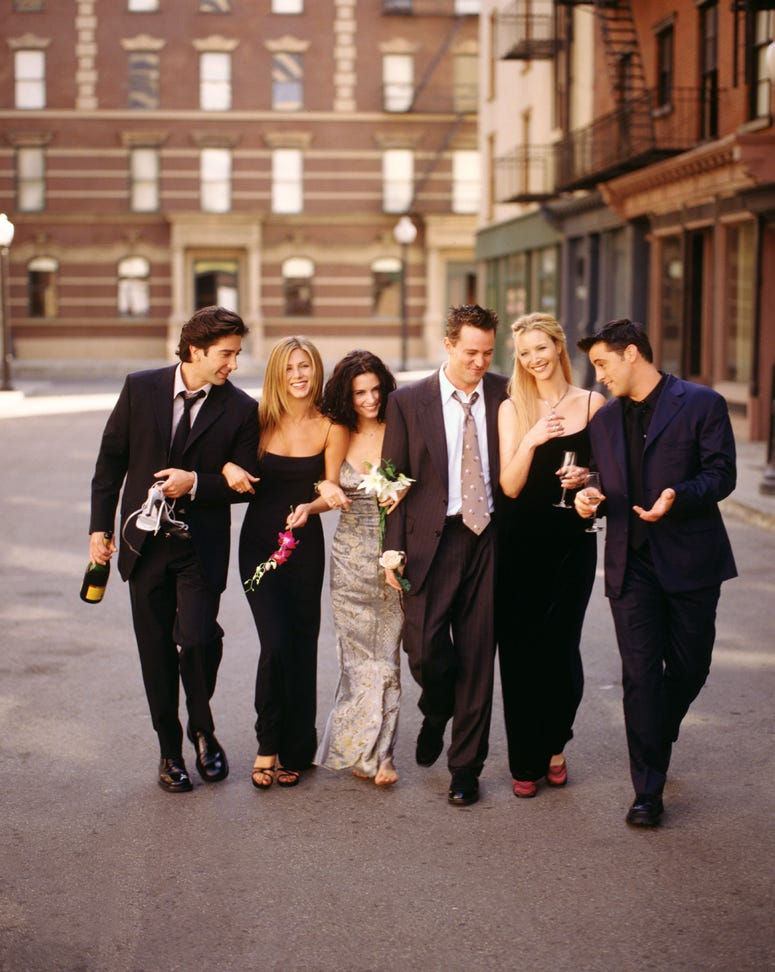 "Cast members of NBC's comedy series ""Friends."""