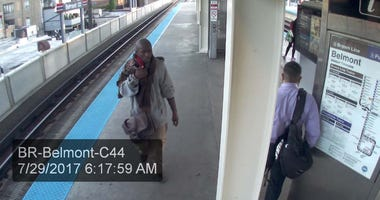 Surveillance video shows Jordan Watkins allegedly carrying an AK-47 on the CTA's Belmont platform in 2017.