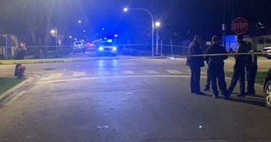 Chicago police investigate after a man was shot to death April 2, 2020, in the 4700 block of West Flournoy Street.
