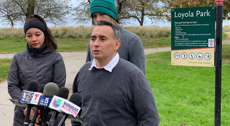 Activist Raul Montez talks about the reward for information in the Rogers Park murders on Sunday, Oct. 28, 2018.