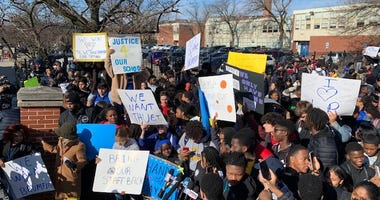 Students from Chicago's Lincoln Park High School staged a walkout Monday morning to protest the suspension of school leaders and the boy's varsity basketball season.
