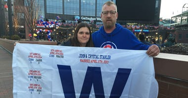 "John and Crystal Stahler with special ""W"" flags"