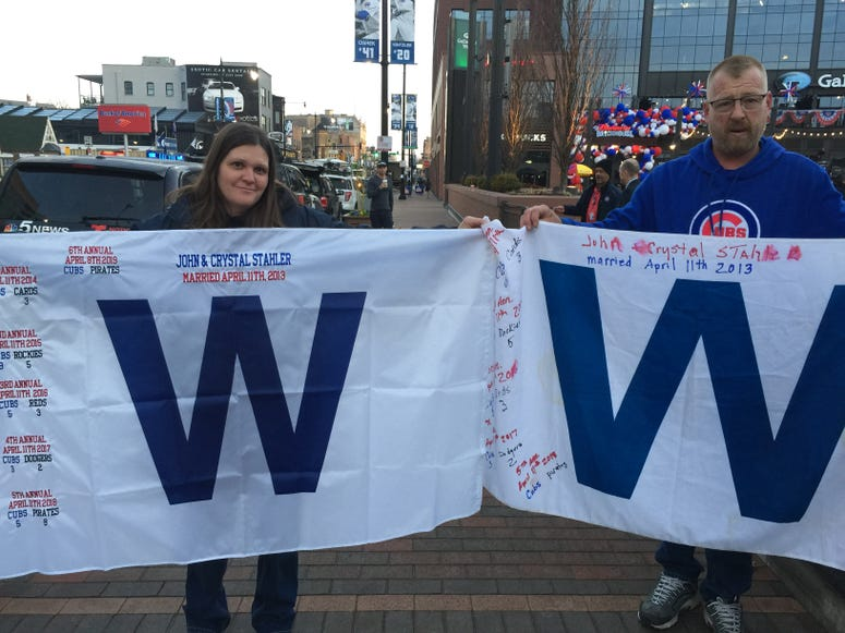 """John and Crystal Stahler's """"W"""" flags"""