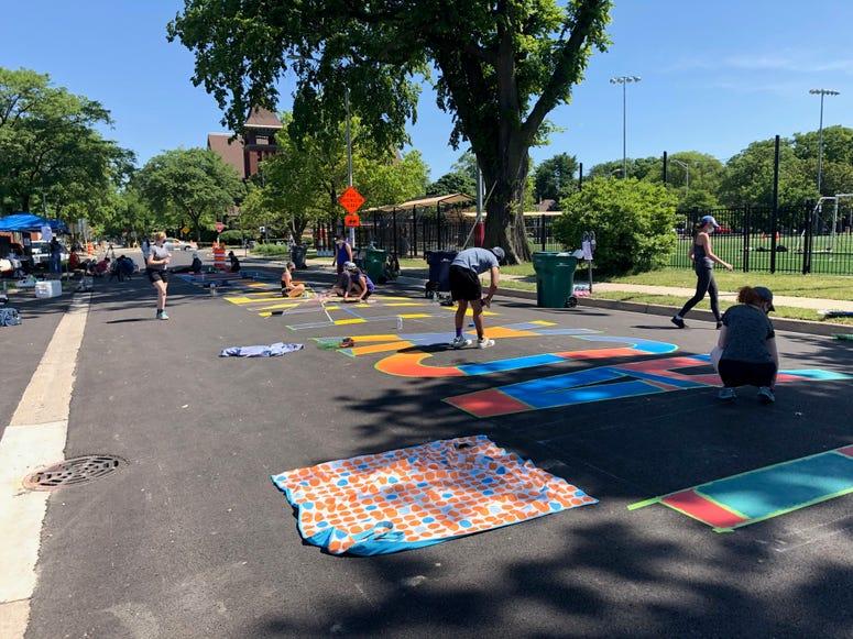 Local Artists Paint Black Lives Matter Mural On Oak Park Street