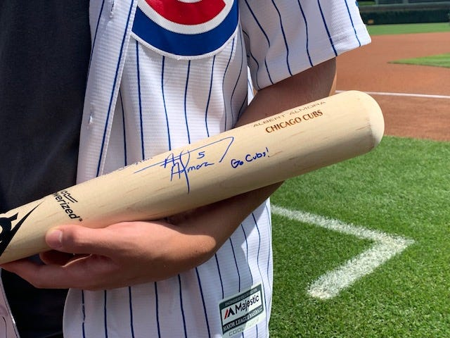 Dylan Provenzano's signed bat from Almora