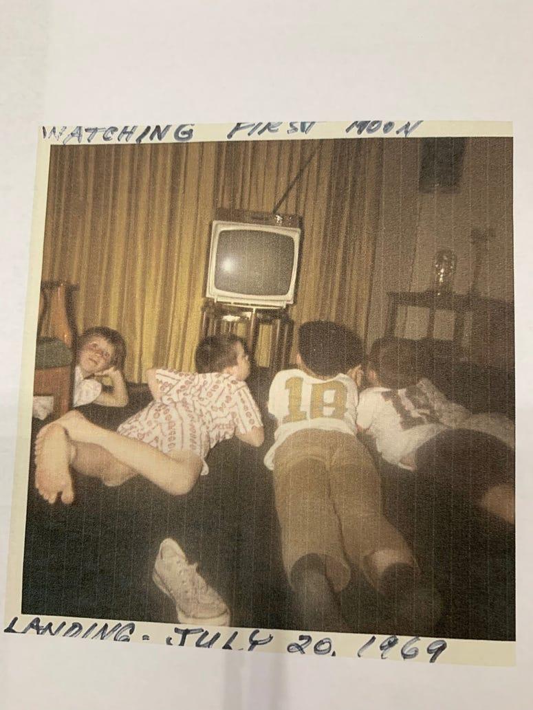 Tom Ryan's 5 children watching the moon landing on TV in 1969