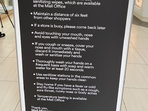 Woodfield Mall guidelines
