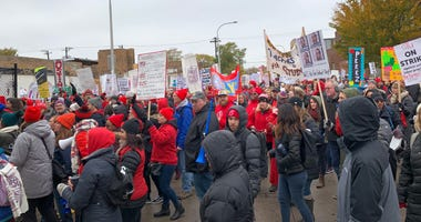 Striking Teachers March To Lincoln Yards Development Site, Asking TIF Money Be Used For Schools