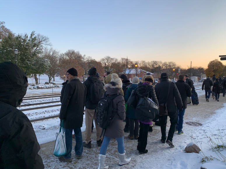 Metra riders waiting in the cold