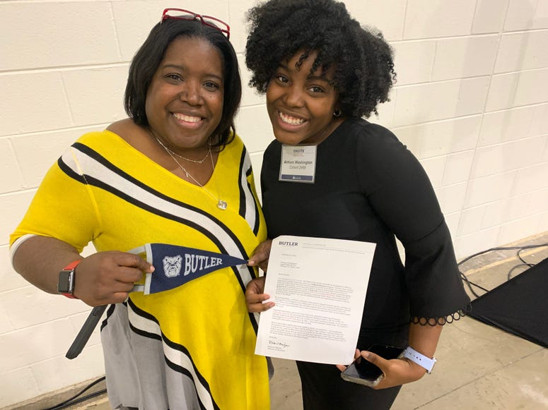 Armani Washington, 17, is a senior at Lane Tech High School.  On Tuesday, she was accepted on the spot from Butler University.