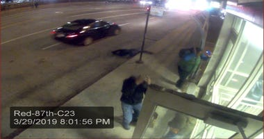 Surveillance image of a car wanted in a fatal hit-and-run crash March 29 in the first block of West 87th Street.