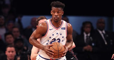Jimmy Butler posts up during the Philadelphia 76ers-Brooklyn Nets first-round playoff series.