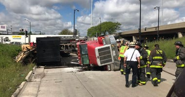 A truck rolled over and blocked the ramp from Kedzie Avenue to the inbound Stevenson Expressway May 30.