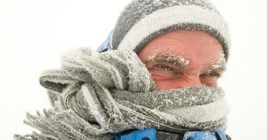 Man in winter storm