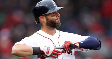 Dustin Pedroia of the Boston Red Sox reacts after an at-bat against the Toronto Blue Jays in April 2019.