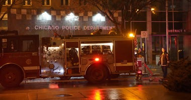 """A Chicago Fire Department hazardous materials crew responds to what police called a """"minor explosion"""" at the Central District Chicago police station, 1718 S. State St., on Jan. 24, 2020."""