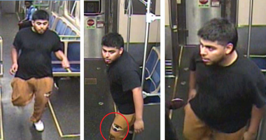 Surveillance images of the man police say kicked out a window on a Pink Line train Aug. 21, 2019, in the Loop.