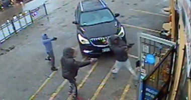 Screen capture of surveillance video released by police of suspects wanted in connection with a shooting Feb. 25, 2020, in Avalon Park.