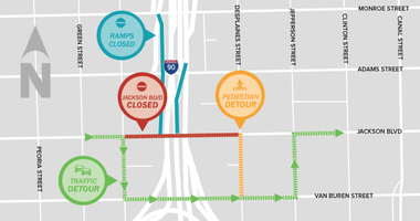A map of detours during the replacement of the Jackson Boulevard Bridge.