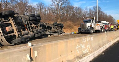 Semi rollover blocks I-80 lanes near New Lenox, prompts hazmat response
