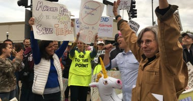 Demonstrators at Six Corners