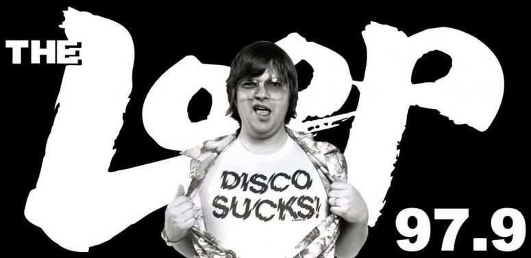 Steve Dahl with Disco Sucks shirt