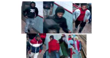 Police released surveillance photos of a group of suspects who attacked three people at a Near North Side Red Line stop on Saturday.