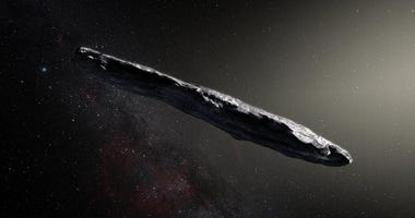 Artist's concept of interstellar object1I/2017 U1 ('Oumuamua) as it passed through the solar system after its discovery in October 2017