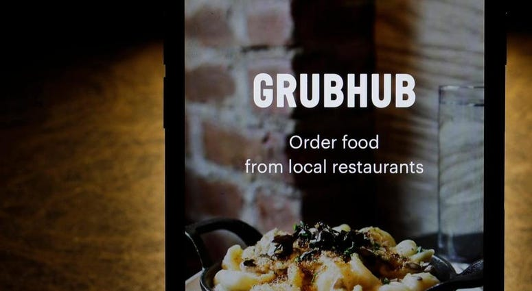 Grubhub app on an iPhone in Chicago.