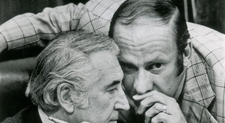 In this July 27, 1974, file photo, Rep. Thomas Railsback, R-Ill., right, confers with chairman Peter Rodino, D-N.J., during the House Judiciary Committee's debate on impeachment articles in Washington.