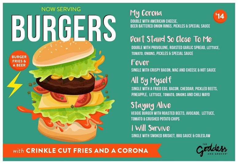 The Goddess and Grocer 'Survival' Burger Deal Menu