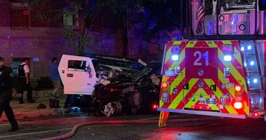 Emergency crews respond to a crash June 3, 2020, at Irving Park Road and Ashland Avenue.