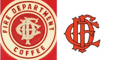 Fire Dept. Coffee logo on a mug (left) and the Chicago Fire Department mark (right).
