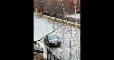 A rusted out light pole came crashing to the ground Thursday in the Humboldt Park neighborhood.