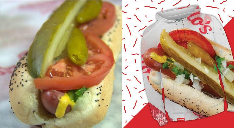 "Portillo's has launched a merchandise line, titled the '1963 Collection' that ""honors our pride and joy...the hot dog!"""