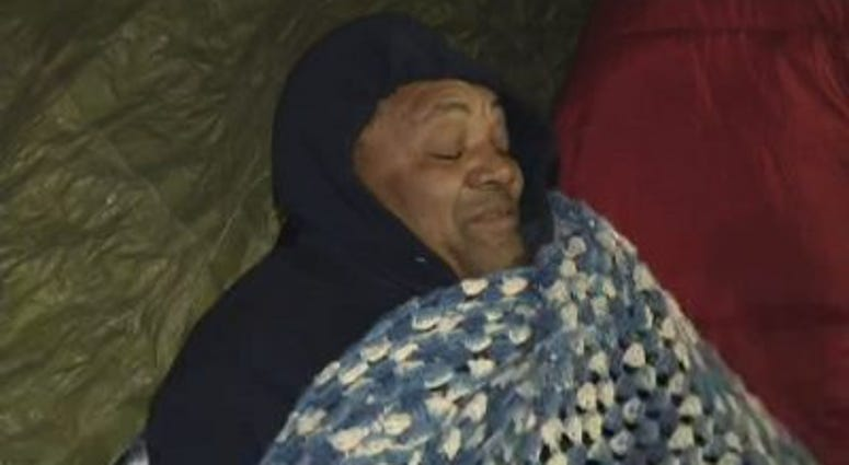 Community activist Andrew Holmes spent the night in a tent city under the Lake Shore Drive viaduct at Lawrence Avenue on Dec. 13, 2016, to protest the planned closing of a nearby homeless shelter.