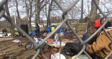 Homeless camp at Dan Ryan Expressway between Roosevelt Road and Taylor Street.