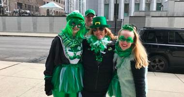Revelers at Chicago's St. Patrick's Day Parade