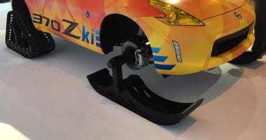 Nissan is showing a one-of-a-kind hybrid of a car on skis and tracks. (Bob Roberts/WBBM)