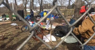 Homeless camp at Dan Ryan Expressway between Roosevelt Road and Taylor Street.