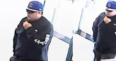Surveillance images of the man wanted for a robbery March 28 at a Byline Bank branch at 3401 N. Western.