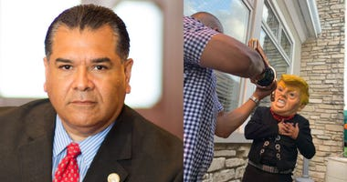 State Senator Martin Sandoval and photo posted on social showing a man in a Donald Trump mask clutching his chest, and another man pretending to shoot him