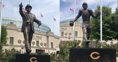 George Halas and Walter Payton statues at Soldier Field